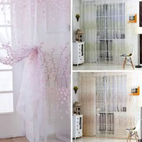 Wholesale Wintersweet Pattern Half Shading Curtain for Door Window Room Decoration Window Screening Pastoral Voile Curtains Bedroom Decor H16140