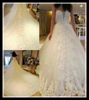 Wholesale 2015 Romantic Plus Size Wedding Dresses With Long Trains Sweetheart Off Shoulder Bow Beads Lace Crystal Bridal Gowns Custom Made