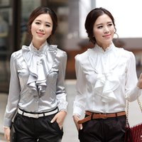 Wholesale hot sale New Women s Clothes WHITE or GRAY Ruffle Front Lace Collar Top Shirt Blouse