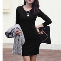 bohemian clothes - New Hot Sale Long Sleeve O Neck Solid Bohemian Empire Dress Women s Clothing Women s Gown S XL