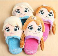 Wholesale New cartoon Frozen slippers FROZEN elsa anna winter slippers Indoor slippers D winter slippers Plush Stuffed Slippers LJJD1051 pairs