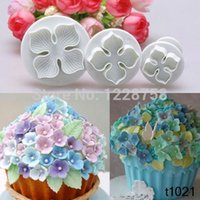 Wholesale 3pcs Hydrangea Fondant Cake Decorating Sugar Craft Plunger Cutter Flower Mold IB010 P