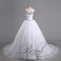 Wholesale 2015 Real Image White Sweetheart Ball Gown Tulle Corset Wedding Dresses Lace Up Bridal Gowns