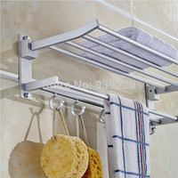 Wholesale New Fashion High Quality Foldable Alumimum Hooks Towel Bar Set Rack Holder Hanger For Bathroom Hotel