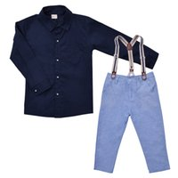 collar t-shirt - Baby Boy Gentleman Formal Suits Little Boys T shirt Suspender Trousers Overall Outfits Autumn Clothing Set Children Kids Clothes CF142