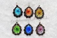 beautiful flower drawings - 2016 NEW Charm European Beads Flower In Multi Color Lampwork Murano Glass Pendant necklaces Beautiful coloured drawing or pattern pdt127c