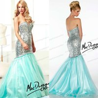 Cheap Sparkle Sequin Strapless Mermaid Organza Pageant Dress For Teen Crystal Zipper Waistband Prom Dresses 2014