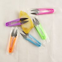 Wholesale YIYUAN stitch tools color yarn small black plastic handle scissors manganese steel U shaped cut yarn thread scissors DHL