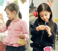 Cheap Lady Style Korea 2015 Baby Girls Cardigan Coat Bubble Sleeve Spring Clothing Kids Dress Peplum Jacket Child Zipper Tops Pink Dark Blue L1397