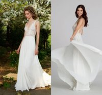 Cheap 2015 Cheap Grecian Style Wedding Dresses A Line V Neck Sheer Back Lace Applique Pleats Floor Length Chiffon Formal Bridal Gowns