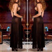 Wholesale S Hot sale NEW Women Sexy Backless Lingerie Night Babydoll Sleepwear Dress G string Black