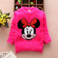 Wholesale 2015 New Arrival Autumn Winter Baby Toddler Girls Minnie Mouse sweater children pullovers baby Kids sweaters clothes color