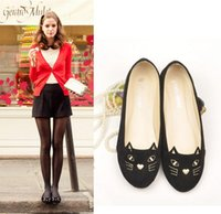 Wholesale New style women flats fashion sweet lovely cat flat casual shoes black red