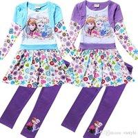 Cheap Frozen Elsa Anna Baby Girls 2pcs Suits Dresses+Leggings Suits Kids Autumn 2 Color Long Sleeved Cotton Suits Children Fashion Clothing DG-GD3