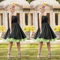 Wholesale Lime Green Short Ball Gown - Fall 2015 Homecoming Dresses Ball Gown Sweetheart Neckline A Line Knee Length Black and Lime Green Dresses Prom Colorful