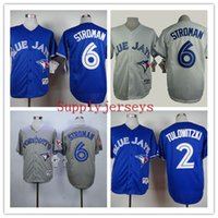 Wholesale Blue Jays Baseball Jerseys Men STROMAN Blue White Grey stitched Athletic jersey Mix Order High Quality