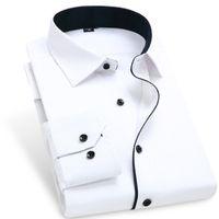 Wholesale Contrast Dress Men - Wholesale-Fashion Patchwork Men Dress Shirts Contrast Color 095 BM Long Sleeve Turn Down Collar Mens Clothing Camisa Masculina