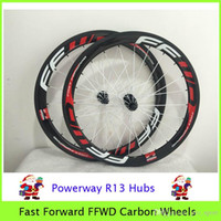 Wholesale Fast Forward FFWD Carbon Wheels Red Written White Spoke Black Nipple With Powerway R13 Hubs Clincher In Stock mm C Wheelset Glossy k