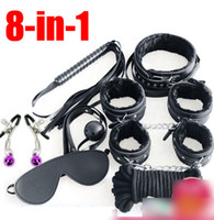 adult sex mask - Handcuffs Nipple Clips Whip Eye Mask Ball Gag Rope collar in Bondage Set SM BDSM Games Adult Sex Toys