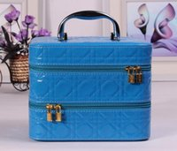 double vanity - Korean stylish classic double layer Candy color Cosmetic Case vanity case portable storage box