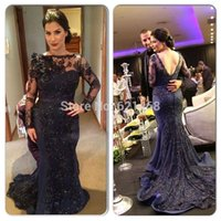 Wholesale 2016 Gorgeous Lace Appliqued Beaded Evening Dresses With Long Sleeves Long Prom Gown Court Train Mermaid Dark Blue Evening Dresses