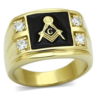 Cheap New Arrival Men's Stainless Steel CZ Masonic Ring AAA Quality Cubic Zirconia Ionic Gold Environmental Material Lead Free