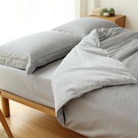 Wholesale Left ear by Japanese minimalist small fresh denim cotton satin plain Egyptian cotton bedding a family of four
