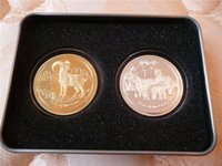 Wholesale Mixed Set OF Elizabeth Australia Lunar Year Of The Goat OZ Fine Gold Plated Commemorative Coins Packed In Metal Box