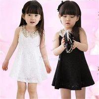 Cheap items Lovely Girls Dress Summer 2014 Baby Kids Sequins Collar flower Sleeveless Vest Lace Princess Dress Black White Red Rose#3SV00088