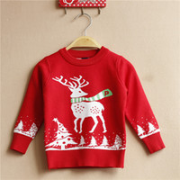 Wholesale 2016 Time limited Pullover t t t Red Unisex Pieces Year Old Boy Autumn Sweater New Christmas Reindeer T shirt