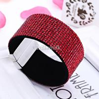 Wholesale Wide Mens crystal Chain Bracelets Bangles Magnetic buckle WOMAN BRACELET