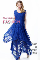 Wholesale 2016 Europe Street style summer womens anomaly lace long dress blue hollow flower fashion sexy female two piece set dresses large size XL