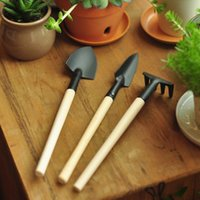 garden shovel - 6pcs Mini Garden Tools Shovel Rake Spade Wood Handle Metal Head Kids Tool plants Potted flowers