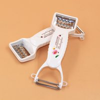 Wholesale H816 white printing double planing multifunction fruit peeler stainless steel grater kitchen gadgets