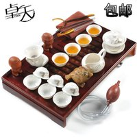 Wholesale Zhuo day tea set special offer shipping Yixing ceramic wood tray set of Kung Fu tea teapot