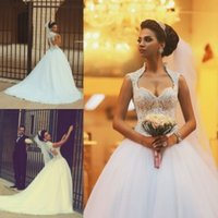 Wholesale 2016 Cheap Vintage Wedding Dresses High Neck Ball Gown Sweetheart Beaded Appliques Bridal Ball Gowns Court Tarin Tulle Wedding Gowns
