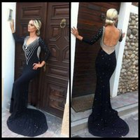 best jersey dresses - 2016 Classic Sheath Beaded Sexy Open Back Elegant Long Evening Dresses Black Women Formal Gown With Pearls Best Selling