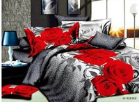 100% Cotton Home,Hotel,Wedding,Hospital,Nursing Silk Hot Reactive printed 3d bed set 3d bedding set linen cotton bedding set king size   bedclothes duvet cover, red rose pattern Free Shipping