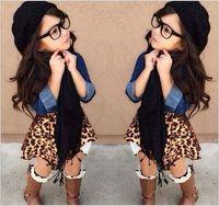 jean skirts - 2015 AAA quality kid baby boy Girl size spring warm jean jacket coat scarf collar wrap leopard grain dress skirt suit TOPB1968 set