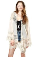 Cheap 2014 New Autumn lace chiffon cardigan kimono panelled see through light loose cape women sexy outwears