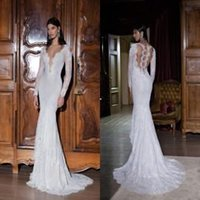 Cheap Wedding Dresses with Long Sleeves 2015 Berta Trumpet Bridal Gowns Deep Neckline Garden Lace Wedding Gowns Beaded Sexy Backless Wedding Dress