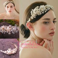 gold tiara - New Crystal Tiaras Hair Accessories Beaded Gold Blossom Hair Vine Headpiece Beaded Wedding Headpiece Bride Hair Headpieces CPA096