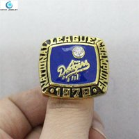 angeles anniversary ring - 1978 Angeles Dodgers World Series Championship Ring Finger Enamel Crystal Gold Pleated Ring Men Jewelry