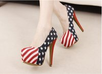 american flag dress sale - Sale Size Denim Cloth American Flag Stars Stripes High Heels Shoes Platform Pumps Stiletto
