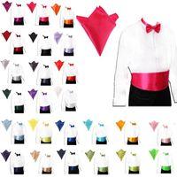 Wholesale 2015 Fashion Men Gentleman Italian Satin Cummerbund and Bow Tie and Hanky Wedding Set