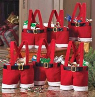 Cheap 1Pcs Santa pants style Christmas candy gift bag Xmas Bag Gift Candy Bags Christmas Flannel Bags