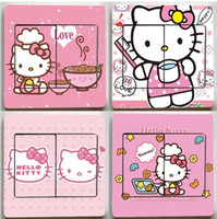 Wholesale 4pcs Cartoon Hello Kitty Design Pattern Series Switch Sticker Socket Sticker cm cm Cute Wall Sticker