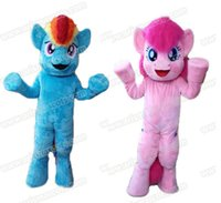 Wholesale 100 real pictures My Little Pony Pinkie Pie Mascot Costume Adult Fancy party costumes Cartoon Character Mascot Suit