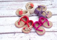Wholesale Beautiful flowers baby crochet sandals Girl soft bottom straps woven wool shoes Cheap barefoot toddler shoes outlets pair