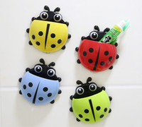 Wholesale Fashion toothbrush holders High Quality Ladybug Toothbrush Wall Suction Bathroom Sets Cartoon Sucker Toothbrush Holder Suction Hooks